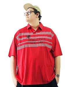 Camisa Polo Bigmen Plus Size Masculina New York Vermelha