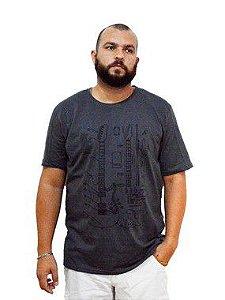 Camiseta Plus Size Masculina Austin Life Estampa Guitarra Cinza