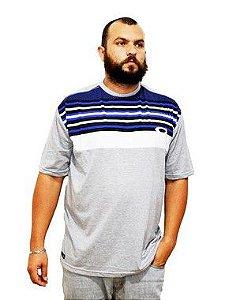 Camiseta Plus Size Masculina Cinza Listrada Azul