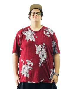 Camiseta Plus Size Masculina Floral Air Waves Vermelha