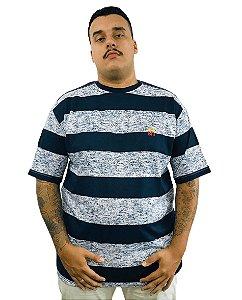 Camiseta Plus Size Masculina Bigmen Faixas Azuis Escuras