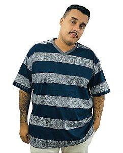 Camiseta Plus Size Masculina Bigmen Gola V Azul e Cinza