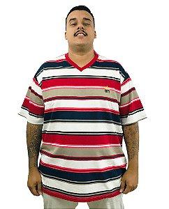 Camiseta Plus Size Masculina Bigmen Gola V Vermelha Listrada