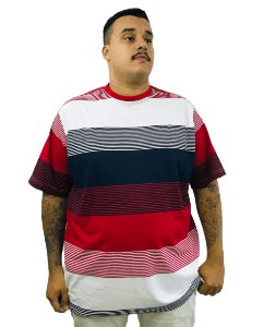 Camiseta Plus Size Masculina Bigmen Branca Faixas Vermelhas e Azuis