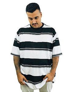 Camiseta Plus Size Masculina Bigmen Branca com Faixas Pretas