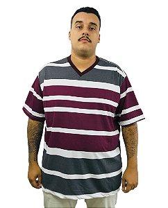 Camiseta Plus Size Masculina Bigmen Faixas Vinho
