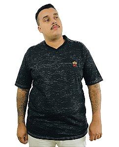 Camiseta Plus Size Masculina Bigmen Gola V Preta