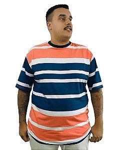 Camiseta Plus Size Masculina Bigmen Listrada Laranja
