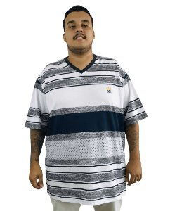 Camiseta Plus Size Masculina Bigmen Gola V Branca Listras Cinzas