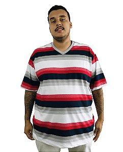 Camiseta Plus Size Masculina Bigmen Gola V Cinza Faixas Vermelhas e Azuis