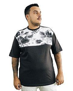 Camiseta Plus Size Masculina Preta e Branca Florida