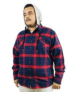 Camisa Plus Size Masculina Gangster Xadrez Vermelha