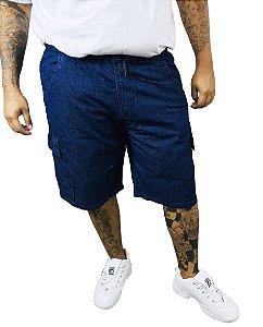 Bermuda Plus Size Masculina Azul Cos Elastico Oncross