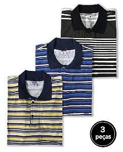 KIT 3 Camisas Polos Sortidas Plus Size Masculino