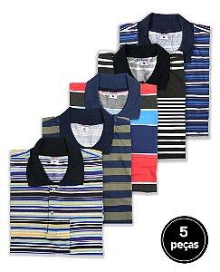 KIT 5 Camisas Polos Sortidas Plus Size Masculino