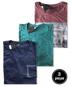 Kit 3 Camisetas Sortidas Plus Size Masculina Multicolorido
