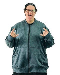Jaqueta de Moletom Plus Size Masculina Bigmen Verde