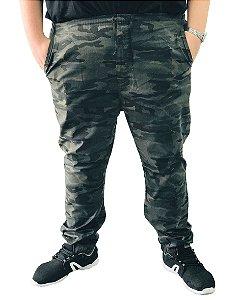 Calça Masculina Plus Size Com Elástico Camuflada