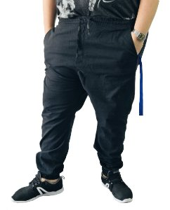 Calça Masculina Plus Size Com Elástico Preta