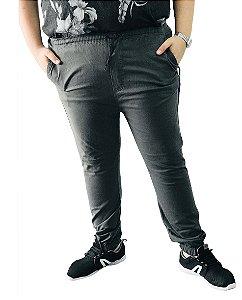Calça Masculina Plus Size Com Elástico Cinza