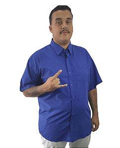 Camisa Social Plus Size Masculina Manga Curta Azul Escura