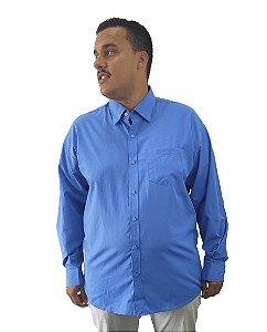 Camisa Social Plus Size Masculina Manga Longa Azul Claro