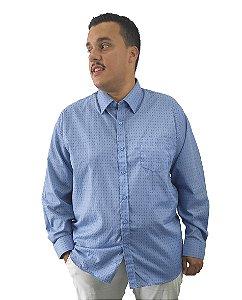 Camisa Social Plus Size Masculina Manga Longa Azul Escuro Com Detalhes