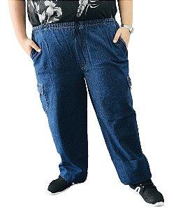 Calça Masculina Plus Size Cós Elástico Jeans Azul