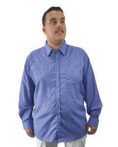 Camisa Social Plus Size Masculina Manga Longa Azul Com Detalhes