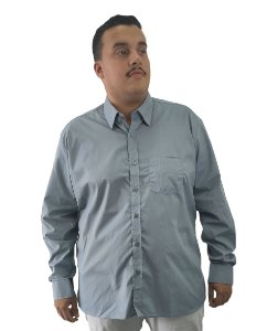Camisa Social Plus Size Masculina Manga Longa Cinza Lisa