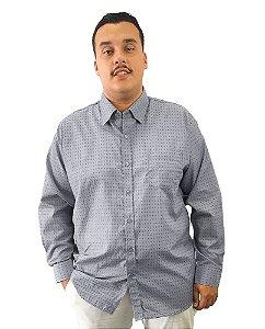 Camisa Social Plus Size Masculina Manga Longa Cinza Claro Com Detalhes