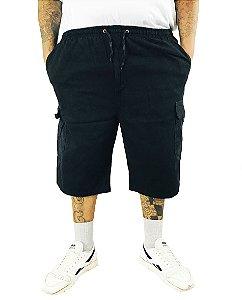 Bermuda Masculina Plus Size Cós Elástico Preta