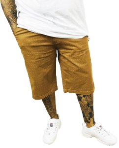 Bermuda Masculina Plus Size Jeans Gangster Bege