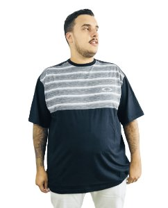 Camiseta Plus Size Masculina Preta Listras Cinzas