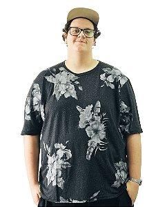Camiseta Plus Size Masculina Floral Air Waves Preta