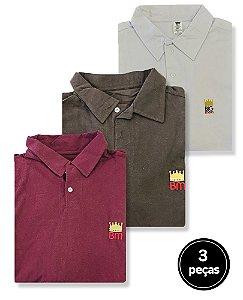 KIT 3 Camisas Polos Lisas Sortidas Plus Size Masculino