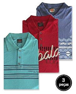 Kit 3 Camisas Polos Estampadas Plus Size Masculino