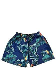 Short Estamapado Plus  Size Masculino Azul Folhas