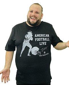Camiseta Plus Size Masculina Austin Life American Football Preta