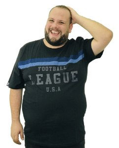 Camiseta Plus Size Masculina Austin Life Football League Preta