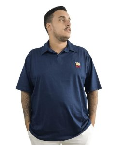 Camisa Polo Plus Size Masculina Bigmen Azul