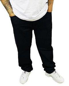 Calça Masculina Plus Size com Elastano Jeans Básica Preta Shyros/Bigmen