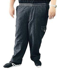 Calça Jeans Cargo Cós Elástico Masculina Plus Size Preto