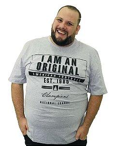 Camiseta Plus Size Masculina Austin Life Original Cinza