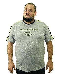 Camiseta Plus Size Masculina Overcore Cinza  A08