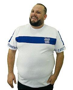 Camiseta Plus Size Masculina Overcore Branca Faixa Azul