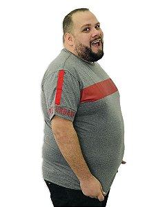 Camiseta Plus Size Masculina Overcore Cinza Faixa Vermelha  A09
