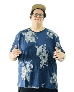 Camiseta Plus Size Masculina Floral Air Waves Azul