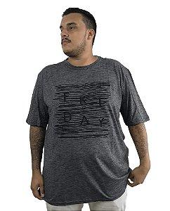 Camiseta Plus Size Masculina Austin Life Friday Cinza   C07