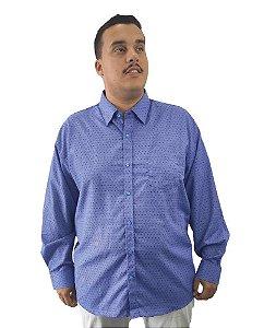Camisa Social Plus Size Masculina Manga Longa Azul Detalhes  J03